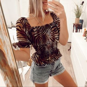 Animal Print Scrunched Short Sleeve Blouse Sz S